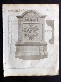 Langley 1777 Antique Architectural Print. Altar Piece for a Small Church 107